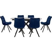 Diego Round Extending Dining Table and 6 Chairs - Blue