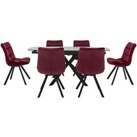 Diego Round Extending Dining Table and 6 Chairs - Red
