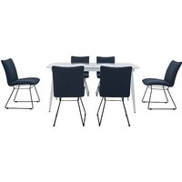 Ace Large Extending Dining Table and 6 Chairs - Blue