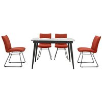 Ace Small Extending Dining Table and 4 Chairs - Orange