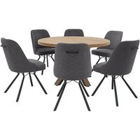 Detroit Round Dining Table and 6 Detroit Dining Chairs -