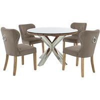 Chennai Round Table and 4 Upholstered Chairs Dining Set -