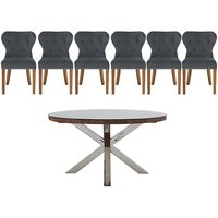 Chennai Round Table and 6 Upholstered Chairs Dining Set -