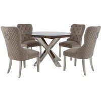 Chennai Round Table and 4 Quilted Chairs Dining Set - Brown