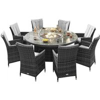 Camber 8 Seater Round Dining Set with Fire Pit Table