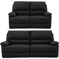Dallas 3 Seater Leather Power Recliner Sofa + 2 Seater Leather Power Recliner Sofa Multi-Saver Set In Graphite