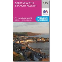 Ordnance Survey Landranger 135 Aberystwyth & Machynlleth Map With Digital Version, Pink