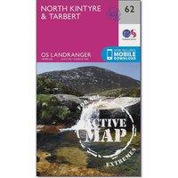 Ordnance Survey Landranger Active 62 North Kintyre & Tarbert Map With Digital Version, Orange