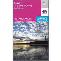 Ordnance Survey Landranger 28 Elgin, Dufftown, Buckie & Keith Map With Digital Version, Orange