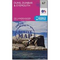 Ordnance Survey Landranger Active 67 Duns, Dunbar & Eyemouth Map With Digital Version, Orange