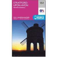 Ordnance Survey Landranger 151 Stratford-upon-Avon, Warwick & Banbury Map With Digital Version, Pink