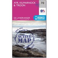 Ordnance Survey Landranger Active 70 Ayr, Kilmarnock & Troon Map With Digital Version, N/A