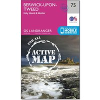 Ordnance Survey Landranger Active 75 Berwick-upon-Tweed Map With Digital Version, Orange