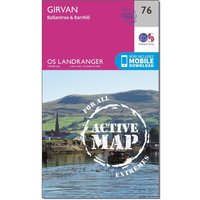 Ordnance Survey Landranger Active 76 Girvan, Ballantrae & Barrhill Map With Digital Version, Orange