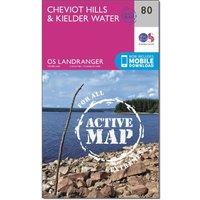 Ordnance Survey Landranger Active 80 Cheviot Hills & Kielder Water Map With Digital Version, Orange