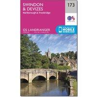 Ordnance Survey Landranger 173 Swindon & Devizes, Marlborough & Trowbridge Map With Digital Version, Orange