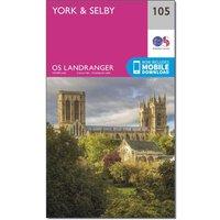 Ordnance Survey Landranger 105 York & Selby Map With Digital Version, Pink