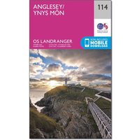 Ordnance Survey Landranger 114 Anglesey Map With Digital Version, Pink/D