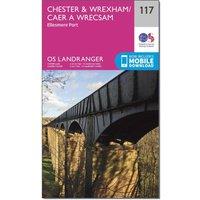 Ordnance Survey Landranger 117 Chester & Wrexham, Ellesmere Port Map With Digital Version, Pink