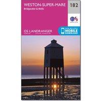 Ordnance Survey Landranger 182 Weston-super-Mare, Bridgwater & Wells Map With Digital Version, Pink/Multi Coloured