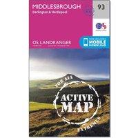 Ordnance Survey Landranger Active 93 Middlesbrough, Darlington & Hartlepool Map With Digital Version, Orange