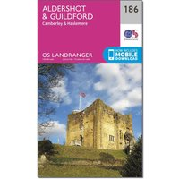 Ordnance Survey Landranger 186 Aldershot & Guildford, Camberley & Haslemere Map With Digital Version, Orange