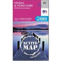 Ordnance Survey Landranger Active 97 Kendal, Morecambe, Windermere & Lancaster Map With Digital Version, Orange