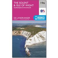 Ordnance Survey Landranger 196 The Solent & the Isle of Wight, Southampton & Portsmouth Map With Digital Version, Pink