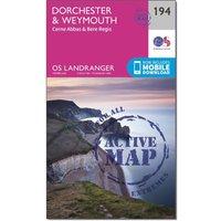 Ordnance Survey Landranger Active 194 Dorchester & Weymouth, Cerne Abbas & Bere Regis Map With Digital Version, Orange