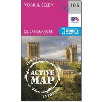 Ordnance Survey Landranger Active 105 York & Selby Map With Digital Version, Orange