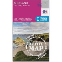 Ordnance Survey Landranger Active 1 - Shetland Yell, Unst and Fetlar Map With Digital Version, Orange