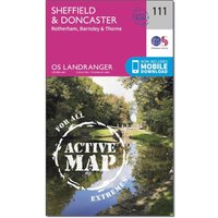 Ordnance Survey Landranger Active 111 Sheffield & Doncaster, Rotherham, Barnsley & Thorne Map With Digital Version - Orange, Orange