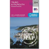 Ordnance Survey Landranger Active 204 Truro, Falmouth & Roseland Peninsula Map With Digital Version, N/A