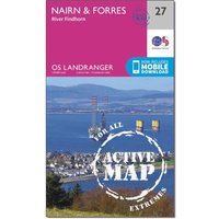 Ordnance Survey Landranger Active 27 Nairn & Forres, River Findhorn Map With Digital Version, Orange