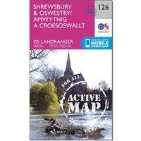 Ordnance Survey Landranger Active 126 Shrewsbury & Oswestry Map With Digital Version, D/D