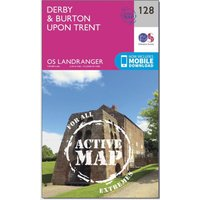 Ordnance Survey Landranger Active 128 Derby & Burton upon Trent Map With Digital Version, Orange