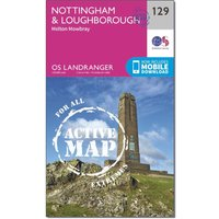 Ordnance Survey Landranger Active 129 Nottingham & Loughborough, Melton Mowbray Map With Digital Version, N/A