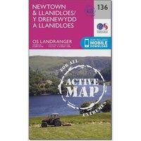 Ordnance Survey Landranger Active 136 Newtown & Llanidloes Map With Digital Version, Pink