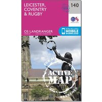 Ordnance Survey Landranger Active 140 Leicester, Coventry & Rugby Map With Digital Version, Orange