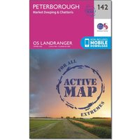 Ordnance Survey Landranger Active 142 Peterborough, Market Deeping & Chatteris Map With Digital Version, Orange