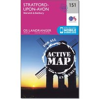 Ordnance Survey Landranger Active 151 Stratford-upon-Avon, Warwick & Banbury Map With Digital Version, Orange