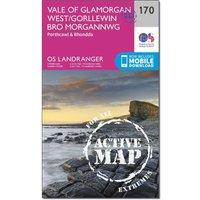 Ordnance Survey Landranger Active 170 Vale of Glamorgan, Rhondda & Porthcawl Map With Digital Version, Orange