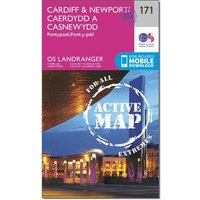 Ordnance Survey Landranger Active 171 Cardiff & Newport, Pontypool Map With Digital Version, Orange