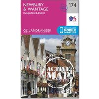 Ordnance Survey Landranger Active 174 Newbury & Wantage, Hungerford & Didcot Map With Digital Version, Orange