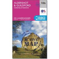 Ordnance Survey Landranger Active 186 Aldershot & Guildford, Camberley & Haslemere Map With Digital Version - Orange, Orange