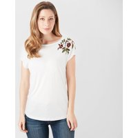 One Earth Women's Embroidered Tee, White/White