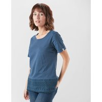 One Earth Women's Embroidered Tee, NVY/NVY