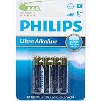 Phillips Ultra Alkaline AAA LR03 Batteries 4 Pack - Blue, Blue
