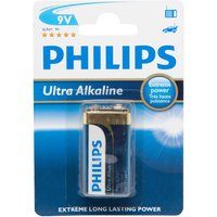 Phillips Ultra Alkaline 9V 6LR61 Battery - Black, Black