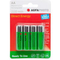 Agfa Rechargeable AA 1.2V Batteries 4 Pack - Green, Green